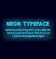 blue neon light glowing latin alphabet vector image vector image