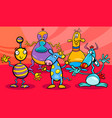 cartoon fantasy alien characters group vector image