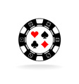 Casino chip logo Black poker chip with card suits vector image