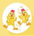 chicken funny cartoon chicken vector image vector image