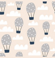 childish seamless pattern with hot air ballon in vector image