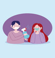 couple with medical mask and spray disinfectant vector image vector image