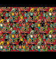 crowd big group people seamless pattern vector image vector image