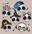 cute cartoon skulls isilated on a brown background vector image
