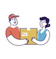 delivery man hands box to customer moving service vector image vector image