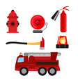 fire safety icons set isolated on white background vector image vector image