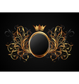 floral frame with heraldic crown vector image vector image