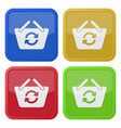 four square color icons - shopping basket refresh vector image vector image