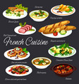 french dishes meat and vegetables with baguette vector image