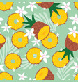 fruit seamless pattern pineapple vector image vector image