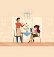 girl makes order with waiter in restaurant vector image vector image