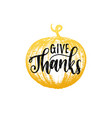 give thanks lettering pumpkin hand sketch vector image vector image
