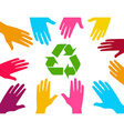 Global effort with recyle sign vector image vector image
