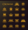 golden crowns and stars heraldic royal icons vector image