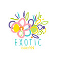 hand drawn exotic tropical logo with floral vector image vector image