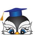 head of a cartoon bird in an academic cap vector image vector image