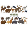 hunting banner with wild animals and birds vector image vector image