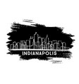 indianapolis indiana usa city skyline silhouette vector image