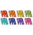 isolated set grizzly bears in many colors vector image