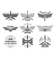 labels an logos for military aviation aviator vector image vector image