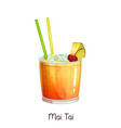 mai tai cocktail vector image vector image