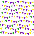 mardi gras flag seamless pattern bunting endless vector image vector image