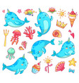 marine kawaii baby unicorn narwhal swimming blue vector image vector image