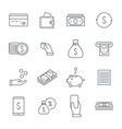 money icons set line icons coins cash back line vector image vector image