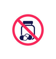 no pills and drugs sign vector image vector image