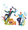 pirate people robbers men fighting on sharp vector image vector image