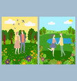 postcard lovers romantic day nature vector image vector image