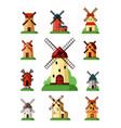 retro windmills set buildings for grinding flour vector image