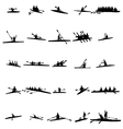 Rowing silhouette set vector image vector image