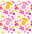 seamless pattern with baby things birth of a girl vector image vector image