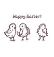 set easter hand drawn chickens with handwritten vector image vector image