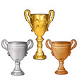 set of golden silver and bronze cups isolated on vector image