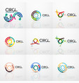 set of line circles logos vector image