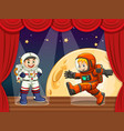 two astronauts walking on stage vector image vector image