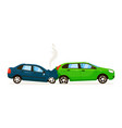 two car rear end collision on white road vector image