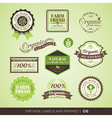 Vintage Fresh Organic Product Labels and Frames vector image vector image