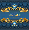 vintage gold frame on a blue jewelry background vector image vector image