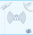 wifi locked sign line sketch icon isolated on vector image vector image