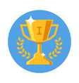 winner cup flat design icon trophy prize on blue vector image