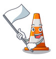 with flag on traffic cone against mascot argaet vector image vector image