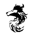 Wolf head tribal art tattoo emblem vector image vector image