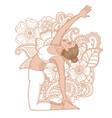 women silhouette revolved camel yoga pose vector image vector image