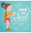 back to school schoolgirl with notebook vector image