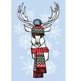 Cartoon deer in Jacquard hatscarfWinter fashion vector image