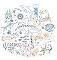Concept Set of Cute Sea animals fish Color vector image