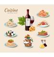 Italian cuisine icons set in cartoon style vector image